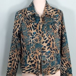 Tan & Turquoise Animal Print Blazer w/Star Buttons